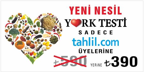 York Test Kısa Bir Süreliğine Tahlil.com'a Özel 200 TL İndirimle 390 TL