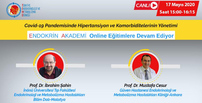 """Prof. Dr. Mustafa Cesur ve Prof. Dr. İbrahim Şahin. Konu """"Covid-19 Pandemisinde Hipertansiyon ve Komorbiditelerinin Yönetimi"""" hakkında konuşacaklar."""